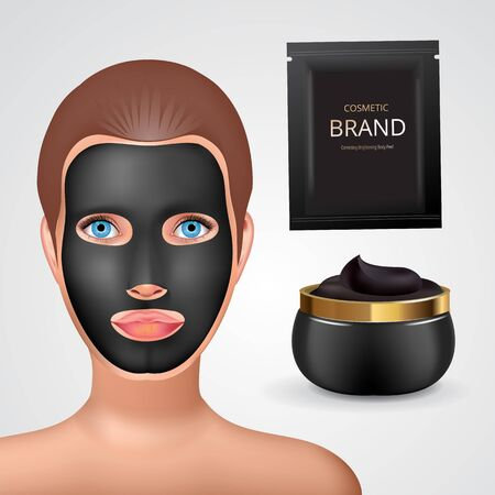 Beauty fashion girl apply facial charcoal black mask. Facial Mask Cosmetics Packaging. Package design for face mask. Ralistic Cosmetics jar and sachet with charcoal creme. Standard-Bild - 129252936