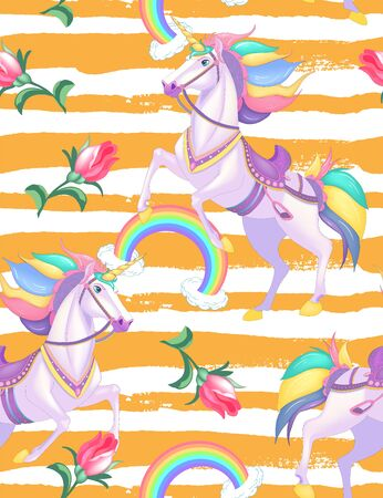 Cute white unicorns with rainbow hair on golden stripes seamless vector pattern background illustration Çizim