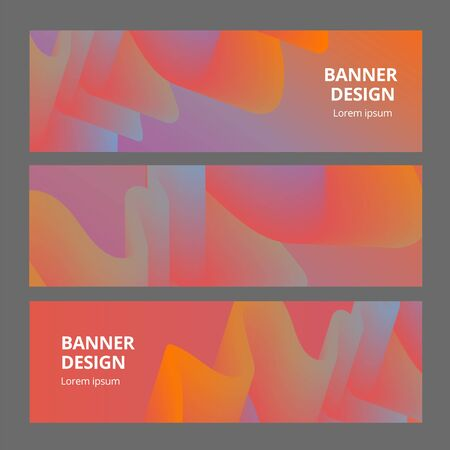 Modern abstract horisontal banners set. Cool gradient shapes composition. Futuristic design.