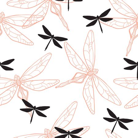Vector Seamless Pattern with Colored Dragonflies. Picture with Clipping Mask. EPS 10