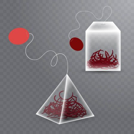 Realistic tea bags of two different forms with red hibiskus tea on transparent background. Vector