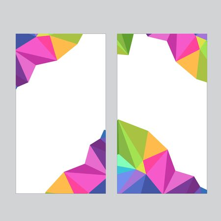 Set of social media banner template for stories, sale and advertising. Polygonal abstract rainbow form. Vector Stock Illustratie