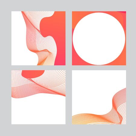 Set of social media banner template for sale and advertising. Coral live color, fluent abstract form. Vector