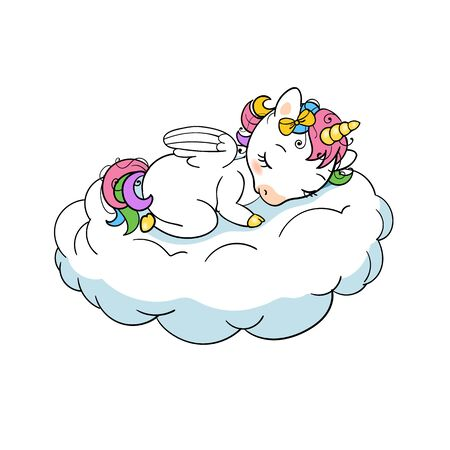 Cute baby unicorn sweet dreams print. Sleep Unicorn isolated vector icon. Fantasy horse sticker, patch badge. Magic cartoon animal. Rainbow horn, pink hair. Dream symbol. Stock Illustratie