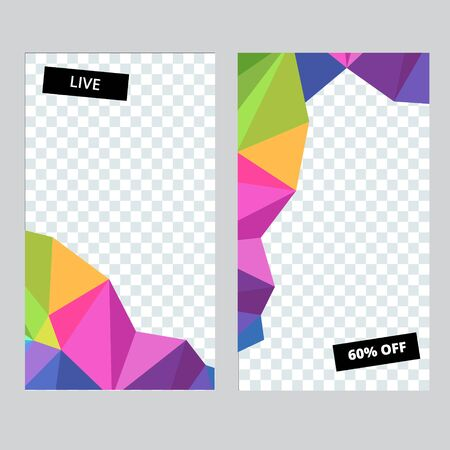 Set of social media banner template for stories, sale and advertising. Polygonal abstract rainbow form. Vector illustration.