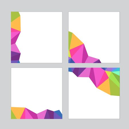Set of social media banner template for sale and advertising. Polygonal abstract rainbow form. Vector illustration.
