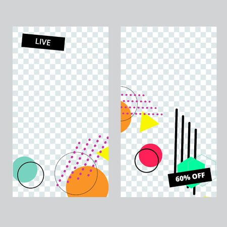 Set of social media banner template for stories, sale and advertising. Memphis style. Vector illustration.