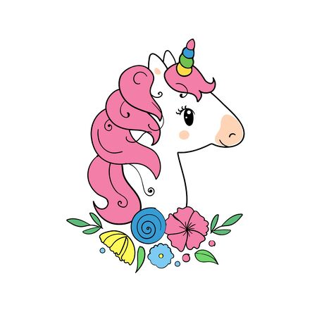 The cute magic Unicorn and flower elements collection. vector illustration.