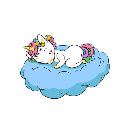 Cute baby unicorn sweet dreams print. Sleep Unicorn isolated vector icon. Fantasy horse sticker, patch badge. Magic cartoon animal. Rainbow horn, pink hair. Dream symbol. Çizim