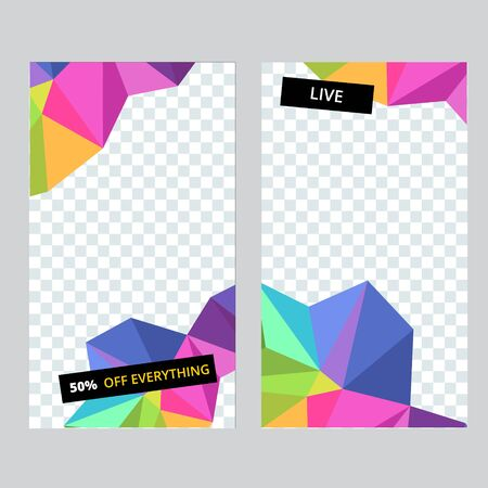 Set of social media banner template for stories, sale and advertising. Polygonal abstract rainbow form. Vector Çizim