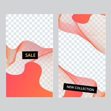 Set of social media banner template for stories, sale and advertising. Coral live color, fluent abstract form. Vector