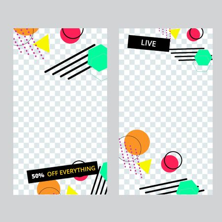 Set of social media banner template for stories, sale and advertising. Memphis style. Vector