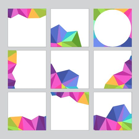 Set of social media banner template for sale and advertising. Polygonal abstract rainbow form. Vector