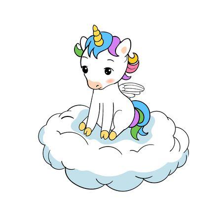 Cute little unicorn sitting on cloud print. Baby Unicorn isolated vector icon. Fantasy horse sticker, patch badge. Magic cartoon animal. Rainbow horn, pink hair. Dream symbol.