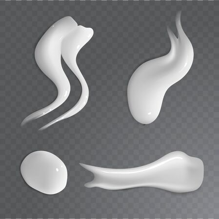 Realistic food creme smear. Soft curvy form gray lather fluid isolated on transparent backdrop. smooth shiny spa soapy sample surface. Tasty sweet yogurt spread. Illustration