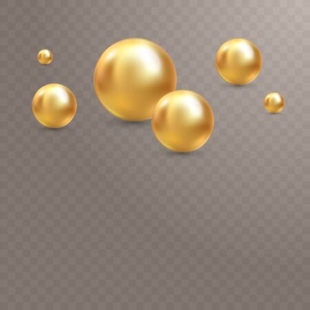 Illustration for your design. Luxury beautiful shining jewelry background with golden pearls illustration. Beautiful shiny natural pearls. With transparent glares and highlights for decoration. Illustration