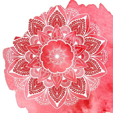 Round gradient mandala on white isolated background. boho mandala in green and pink colors. Mandala with floral patterns. Yoga template