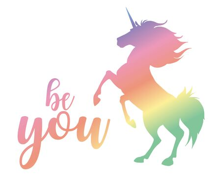 Be you. Vector magic inspirational quote. Motivational lettering with unicorn. Ilustração