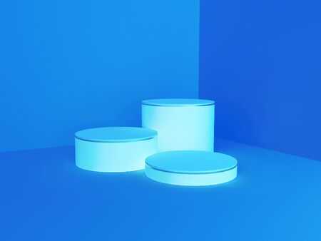 Abstract geometry shape light blue color podium on dark blue color background for product. Minimal concept. 3d rendering