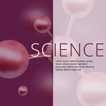 Molecular abstract web banners. Vector illustration. Atoms. Medical background for banner or flyer. 3d Molecular structure with red spherical particles.