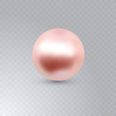 Vector illustration of single shiny natural pink sea oyster pearl with light effects isolated on transparent background. Beautiful 3D shining realistic pearl for luxury accessories.