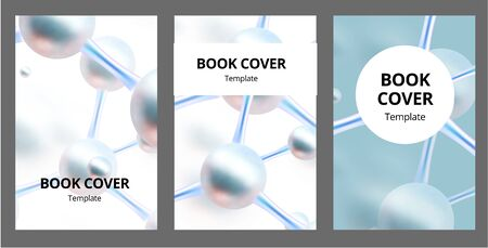 Molecular abstract brochure covers set. Vector illustration. Atoms. Medical background for banner or flyer. 3d Molecular structure with red spherical particles. Ilustração