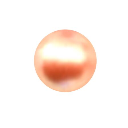 Vector illustration of single shiny natural orange sea oyster pearl with light effects isolated on white background. Beautiful 3D shining realistic pearl for luxury accessories.