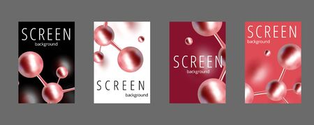 Molecular abstract screen covers set. Atoms. Medical background for banner or flyer. 3d Molecular structure with red spherical particles. Vector illustration.