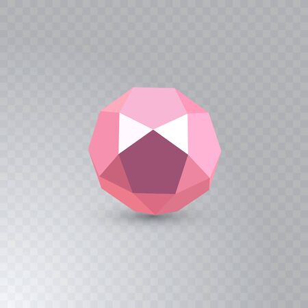 Pink icosadodecahedron on transparent background. Jewellery stone. Icosahedron, dodecahedron. Vector illustration. Abstract geometric shape.