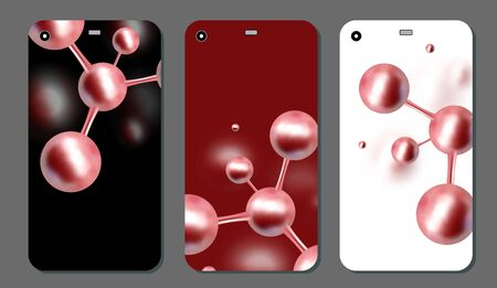Molecular abstract phone covers set. Vector illustration. Atoms. Medical background for banner or flyer. 3d Molecular structure with red spherical particles. Ilustração