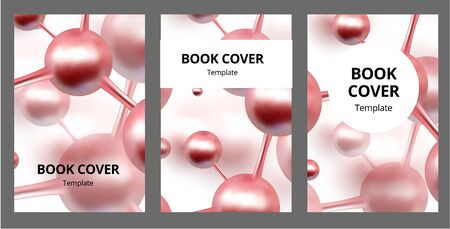 Molecular abstract brochure covers set. Atoms. Medical background for banner or flyer. 3d Molecular structure with red spherical particles. Vector illustration. Ilustração