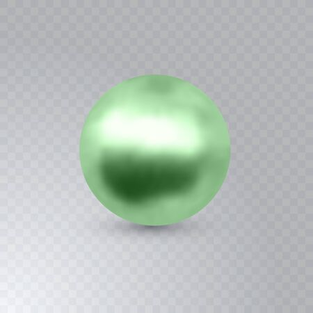 Vector illustration of single shiny natural green sea oyster pearl with light effects isolated on transparent background. Beautiful 3D shining realistic pearl for luxury accessories. EPS 10 Illustration