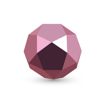 Purple icosadodecahedron on white background. Jewellery stone. Icosahedron, dodecahedron. Abstract geometric shape. Vector illustration.