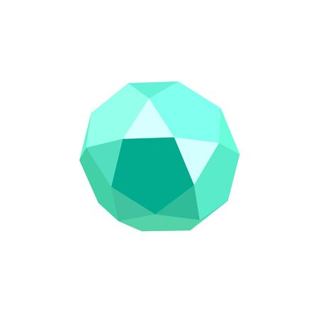 Light green icosadodecahedron on white background. Jewellery stone. Icosahedron, dodecahedron. Abstract geometric shape. Vector illustration. Ilustração