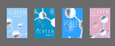 Molecular abstract screen covers set. Vector illustration. Atoms. Medical background for banner or flyer. 3d Molecular structure with blue spherical particles.