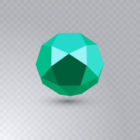 Green icosadodecahedron on transparent background. Jewellery stone. Icosahedron, dodecahedron. Abstract geometric shape. Vector illustration. Ilustração