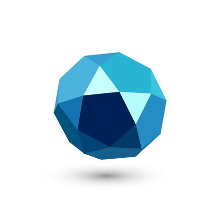 Dark blue icosadodecahedron on white background. Jewellery stone. Icosahedron, dodecahedron. Abstract geometric shape. Vector illustration.