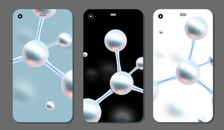 Molecular abstract phone covers set. Vector illustration. Atoms. Medical background for banner or flyer. 3d Molecular structure with blue spherical particles. Ilustração