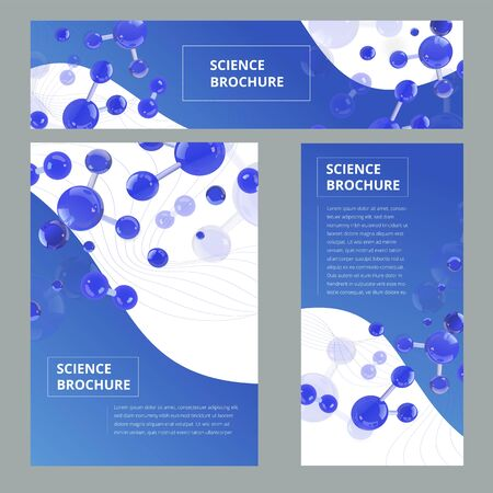 Set flyer, brochure size A4 template, banner. Molecular structure with realistic glass balls. Scientific pattern with elements for magazine, leaflet, cover, poster design