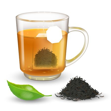 High detailed vector illustration of transparent cup with black or green tea isolated on transparent background. Flat rectangular tea bag inside cup with label. Realistic green tea leaf.