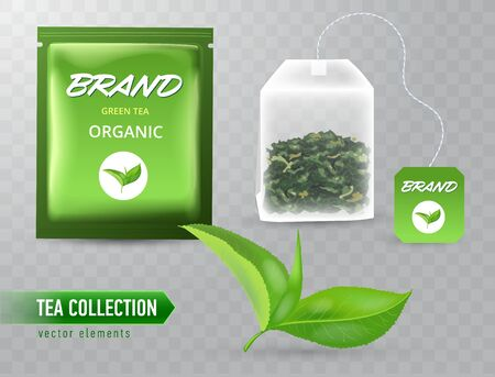 High detailed vector illustration of set of tea design elements isolated on transparent background. Sachet package with text. Realistic green leaf. Flat rectangular tea bag with label.