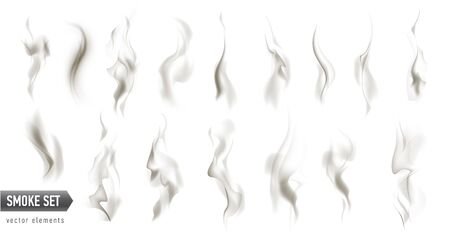 large set of different high detailed smokes isolated on white background