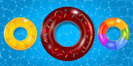 Swim rings set on pool water background. Inflatable rubber toy. Lifebuoy colorful vector collection. Summer. Realistic summertime illustration. Summer vacation or trip safety. Ilustração