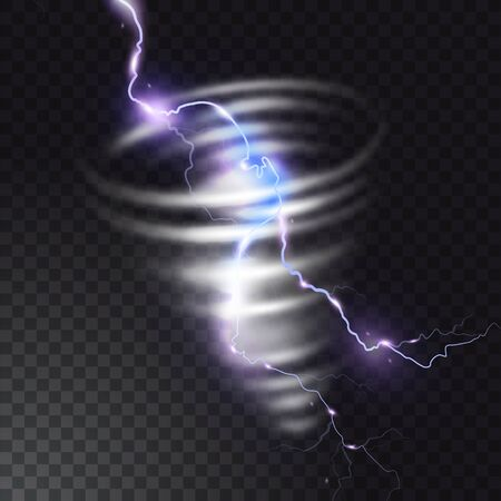 Tornado with lightning vector illustration of realistic thunderbolt light flash in twister hurricane. Wind cyclone vortex in storm weather. Ilustração