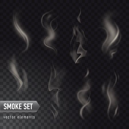 Set of high detailed smokes from hot food or drink isolated on transparent background 向量圖像