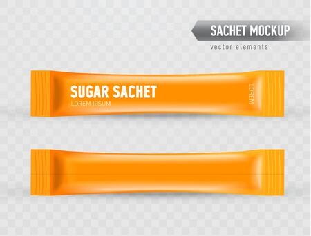 Realistic mock up of stick sachets. Front and back view. Blank packaging for cosmetic or food product. Template for your design, ready to use. Vector illustration isolated on transparent background. Иллюстрация