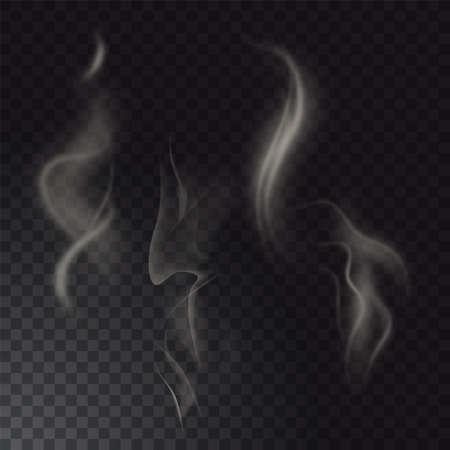 Set of high detailed smokes from hot food or drink isolated on transparent background