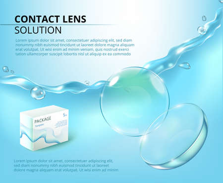 Ads template with realistic contact lens, water splash and medicine package. Blue advertising background.