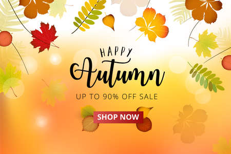 Autumn season advertising banner. Autumn falling red, yellow, orange, brown leaves on bright background. Sale banner template or promo poster. Ilustración de vector