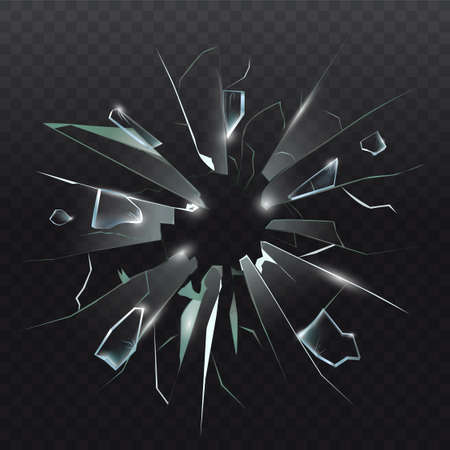 High detailed realistic broken glass isolated on dark transparent background. With cracks and bullet marks. Realistic transparent shards of broken glass. Vector illustration.